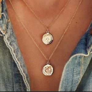 NEW! Gold Sun Moon Stars Layered Dainty Necklace